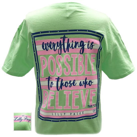 Bjaxx Lilly Paige Anything is Possible to Those who Believe Christian Girlie  Bright T Shirt