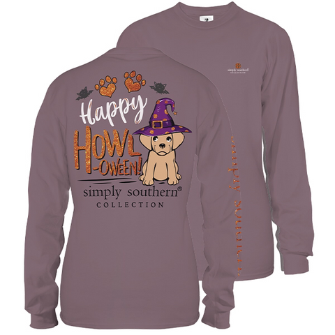 Simply Southern Preppy Happy Howloween Dog Halloween Fall Long Sleeve T-Shirt