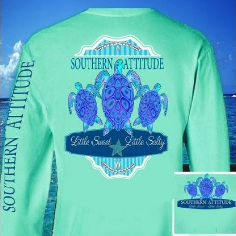 Country Life Outfitters Southern Attitude Mint 3 Turtles Starfish Vintage Girlie Bright Long Sleeve T Shirt - SimplyCuteTees