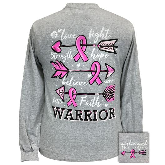 Girlie Girl Originals Breast Cancer Warrior Arrows Long Sleeves T Shirt
