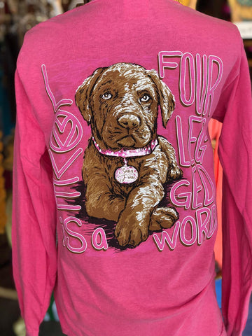 Sassy Frass Love is a Four Legged Word Lab Dog Comfort Colors Bright Girlie Long Sleeves T Shirt