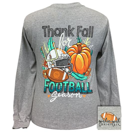 Girlie Girl Originals Thank Fall Football Season Pumpkin Long Sleeves T Shirt
