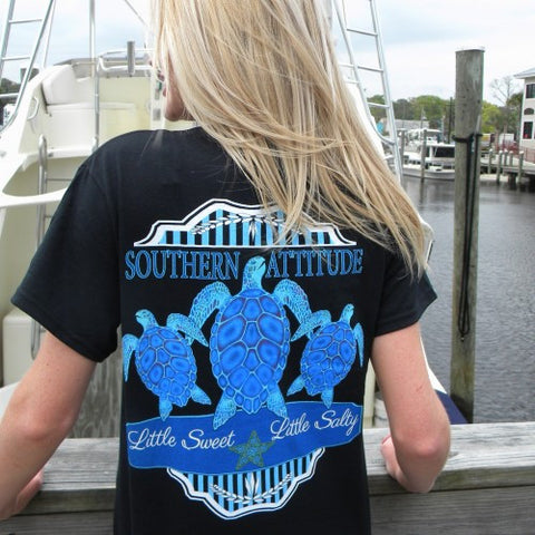 Country Life Outfitters Southern Attitude Black 3 Turtles Starfish Vintage Girlie Bright T Shirt - SimplyCuteTees