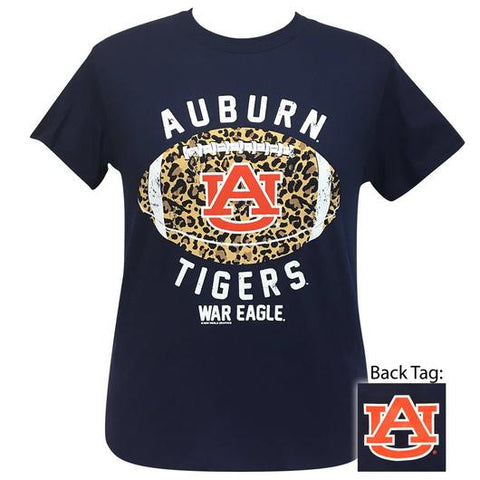 Alabama Auburn Tigers Leopard Football T-Shirt