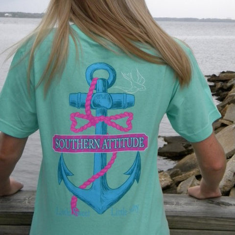 Country Life Outfitters Southern Attitude Anchor Bow Mint Vintage Girlie Bright T Shirt - SimplyCuteTees