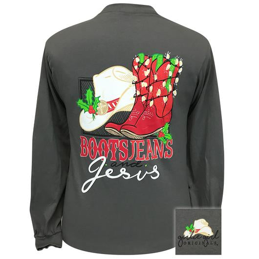 Girlie Girl Originals Boots Jeans Jesus Christmas Long Sleeves T Shirt