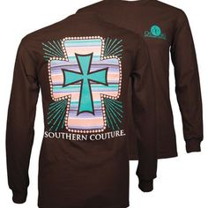 SALE Southern Couture Classic Serape Cross Faith Long Sleeve T-Shirt