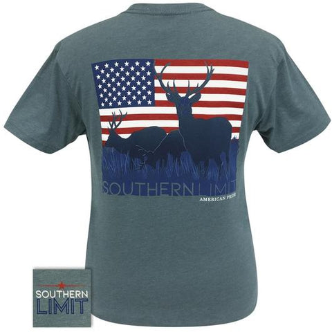 Southern Limits Deer American Flag Unisex T-Shirt