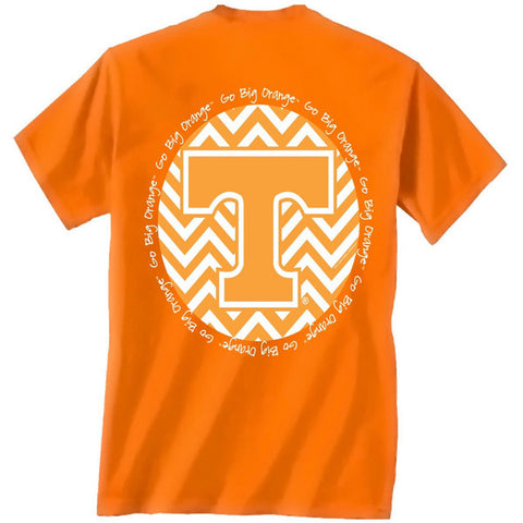 Tennessee Vols Volunteer Chevron Big Orange Glitter Logo Girlie Bright T Shirt