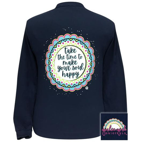 Girlie Girl Originals Preppy Make Your Soul Happy Mandala Long Sleeve T-Shirt
