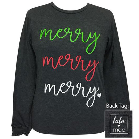 Girlie Girl Originals Lulu Mac Preppy Merry Merry Merry Long Sleeve T-Shirt