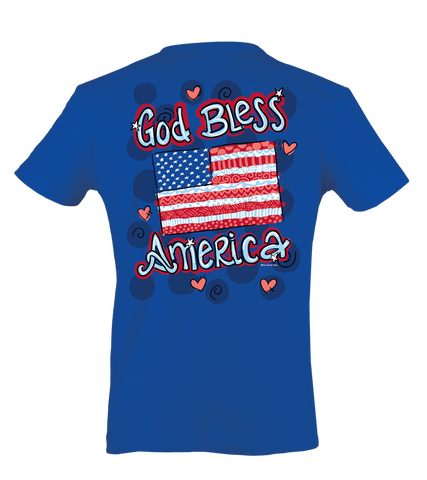Itsa girl Thing God Bless America USA Flag Hearts Patriotic Bright Girlie T-Shirt