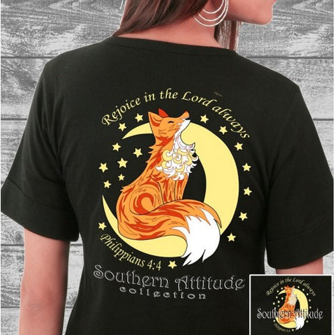 Southern Attitude Preppy Fox Moon Black T-Shirt