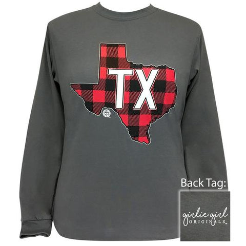 Girlie Girl Originals Preppy Texas Plaid State Long Sleeve T-Shirt