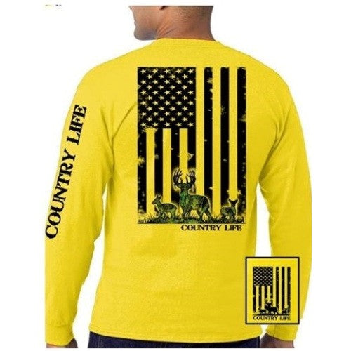 Country Life Outfitters Yellow Camo USA Deer Flag Unisex Long Sleeve T-Shirt  Sale 7032193f4a0