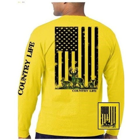 Country Life Outfitters Yellow Camo USA Deer Flag Unisex Long Sleeve T-Shirt