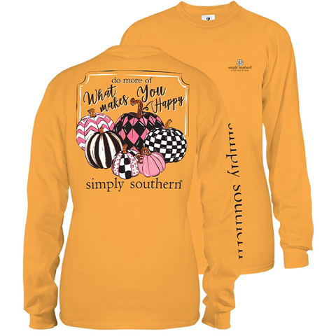 Simply Southern Preppy Pumpkin Patterns Fall Long Sleeve T-Shirt