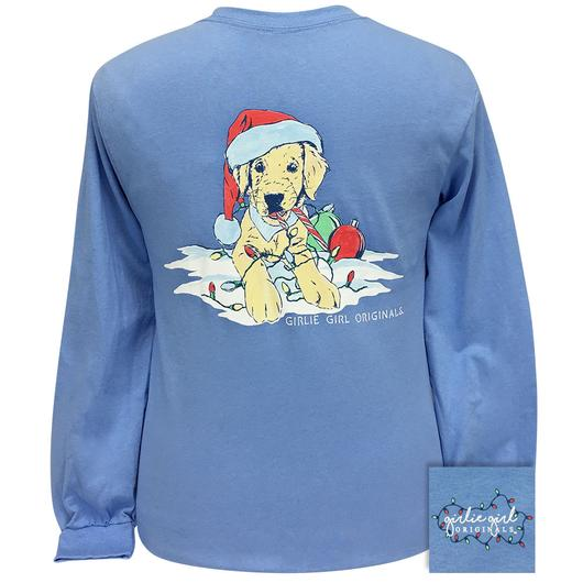 Girlie Girl Originals Christmas Puppy Long Sleeves T Shirt