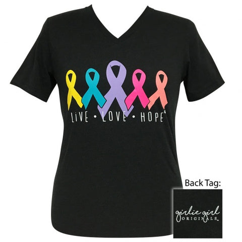 Girlie Girl Live Love Hope Cancer V-Neck T-Shirt