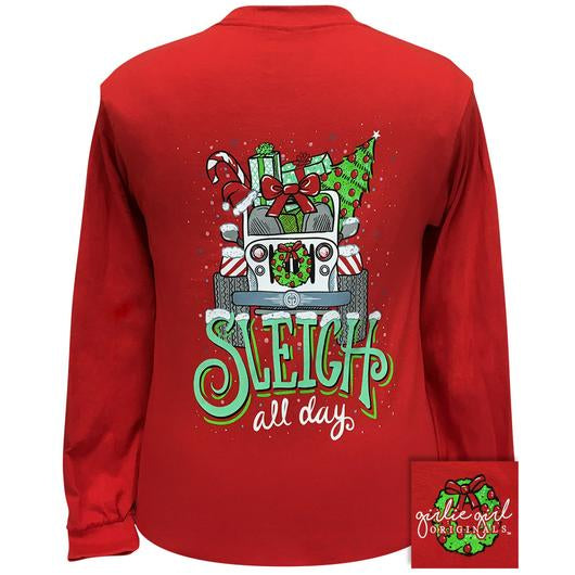 Girlie Girl Originals Sleigh All Day Christmas Jeep Long Sleeves T Shirt