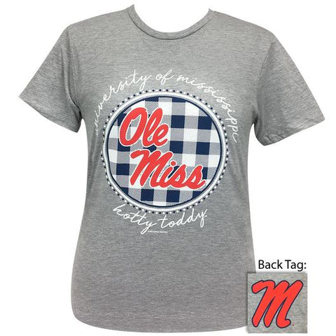 Ole Miss Buffalo Plaid Logo Sports Grey T-Shirt