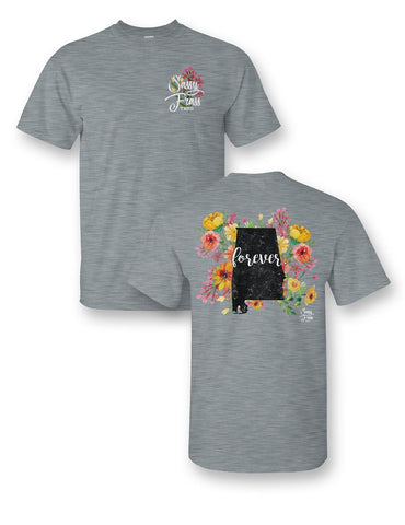 SALE Sassy Frass Alabama Forever Flowers AL State Design Girlie Bright T Shirt