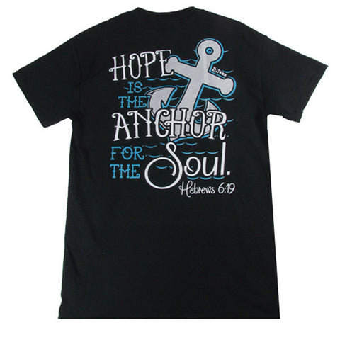 Bjaxx Hope Anchors the Soul Anchor Black Christian Girlie Bright T Shirt - SimplyCuteTees