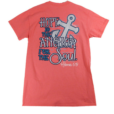 Bjaxx Hope Anchors the Soul Anchor Coral Christian Girlie Bright T Shirt
