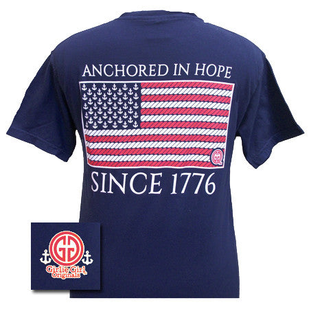 Girlie Girl Anchored in Hope Anchor American Flag Patriotic Comfort Colors True Navy Bright T Shirt