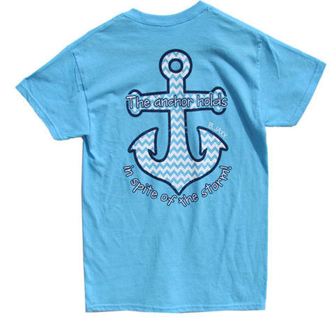 Bjaxx Anchor Holds Chevron Anchor Blue Christian Girlie Bright T Shirt - SimplyCuteTees