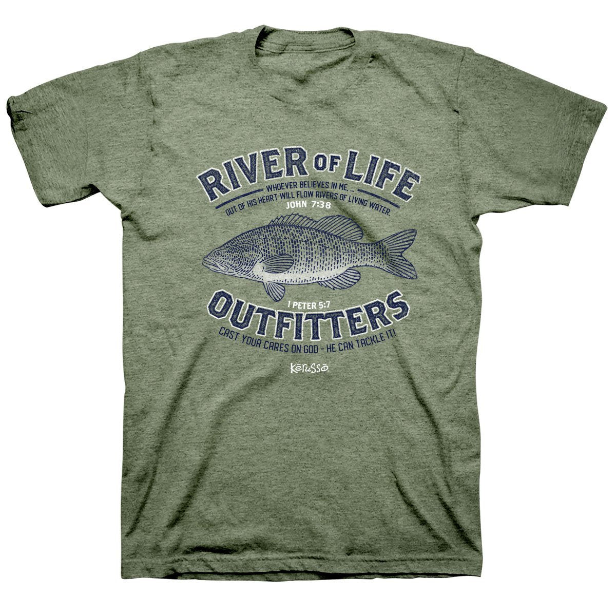 Kerusso Fishing River of Life Christian Unisex T-Shirt