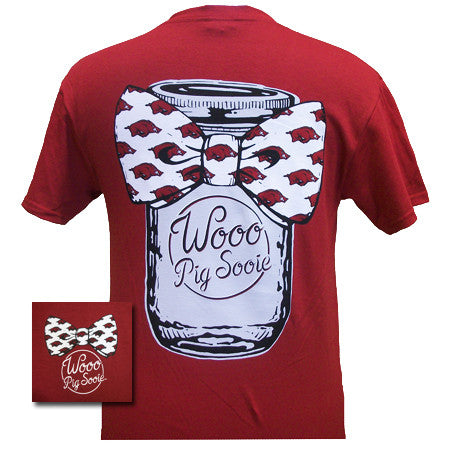 Arkansas Razorbacks Hogs Mason Jar Big Bow Girlie Bright T Shirt - SimplyCuteTees