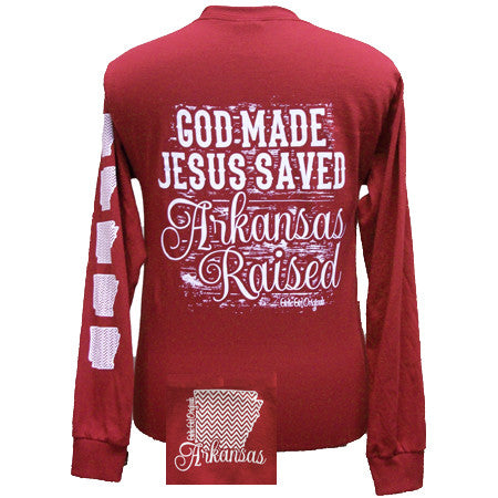 Arkansas Raised, Jesus Saved Chevron State Girlie Bright Long Sleeves T Shirt - SimplyCuteTees