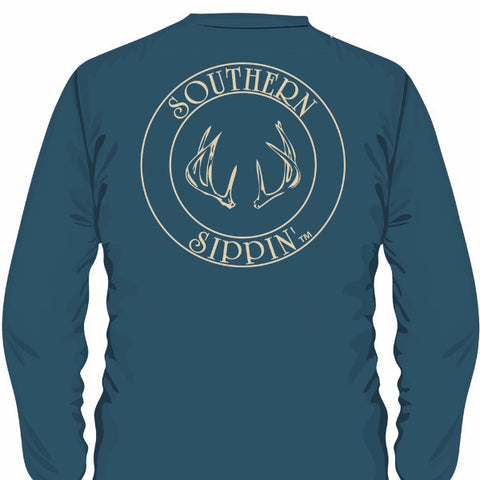 Southern Sippin Deer Antlers Pigment Dyed Unisex Pocket Long Sleeve T-Shirt - SimplyCuteTees