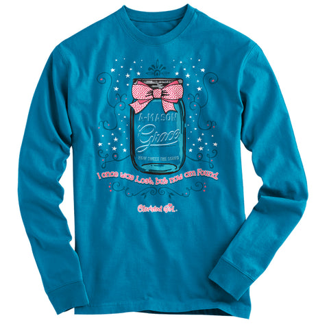 Cherished Girl Amazing Grace A Mason Jar Bow Christian Bright Long Sleeve T Shirt - SimplyCuteTees