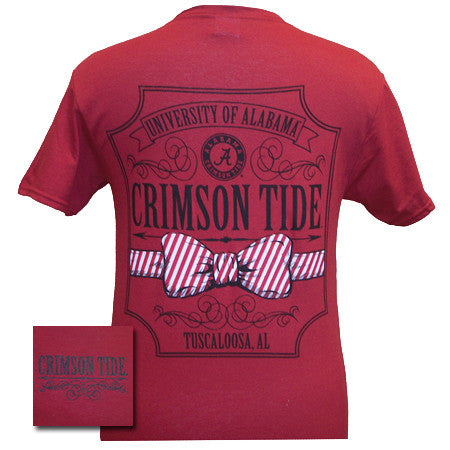 Alabama Crimson Tide Southern Class Bow Prep Red Girlie Bright T Shirt - SimplyCuteTees
