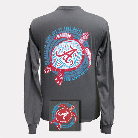 Alabama Crimson Tide Turtle Charcoal Bright Girlie Girl Long Sleeve T Shirt - SimplyCuteTees
