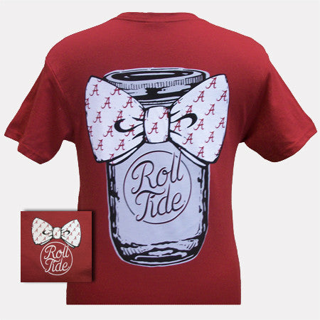 New Alabama Crimson Tide Mason Jar Big Bow T Shirt | SimplyCuteTees