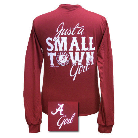 Alabama Crimson Tide Just A Small Town Bama Girl Bright Girlie Girl Long Sleeves T-Shirt - SimplyCuteTees