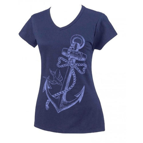 Country Life Outfitters Anchor Bow Navy Fitted V Cut Vintage Girlie Bright T Shirt - SimplyCuteTees