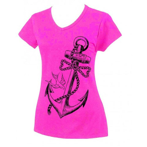 Country Life Outfitters Anchor Bow Pink Fitted V Cut Vintage Girlie Bright T Shirt - SimplyCuteTees