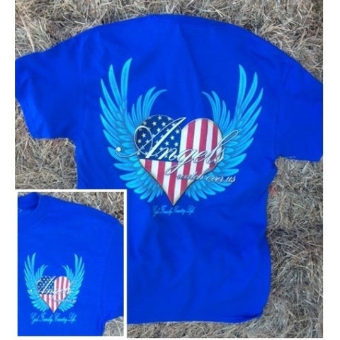 Country Life Outfitters Angel Blue USA Heart American Flag Wings Vintage Girlie Bright T Shirt - SimplyCuteTees