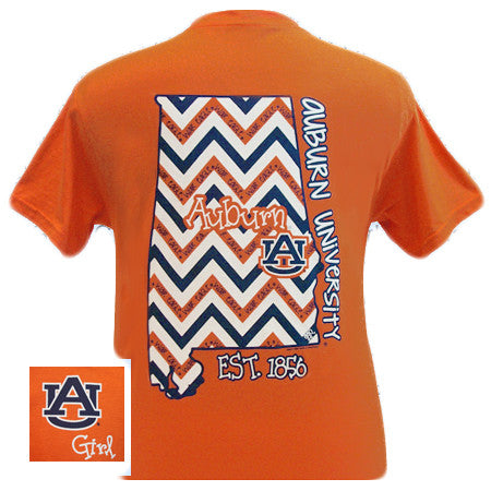 Auburn Tigers War Eagle Chevron State Girly EST. 1856 Bright T Shirt - SimplyCuteTees