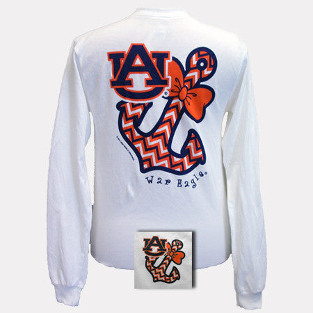 Auburn tigers war eagle anchor bow chevron white bright for Auburn war eagle shirt