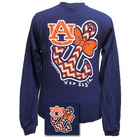 Auburn Tigers War Eagle Anchor Bow Chevron Bright Long Sleeve T Shirt - SimplyCuteTees