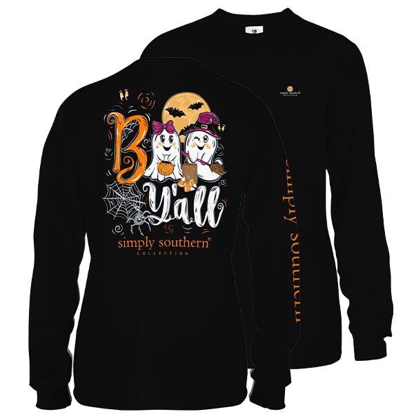 Simply Southern Preppy Boo Y'all Halloween Fall Long Sleeve T-Shirt