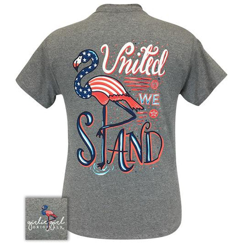 Girlie Girl Originals Preppy United We Stand Flamingo Flag T-Shirt