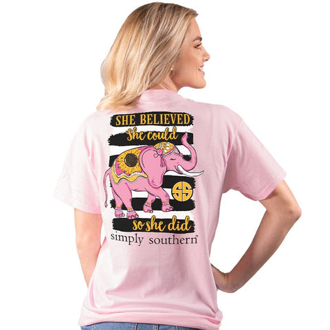 Simply Southern Preppy She Believed Elephant T-Shirt