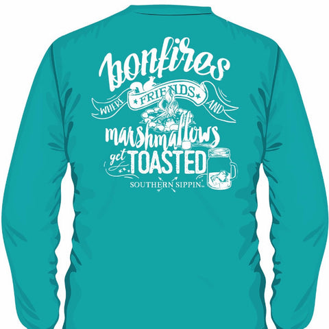 Southern Sippin Bonfire Pigment Dyed Unisex Pocket Long Sleeve T-Shirt - SimplyCuteTees