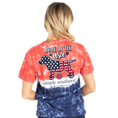 Simply Southern Preppy Bone In The USA Tie Dye T-Shirt